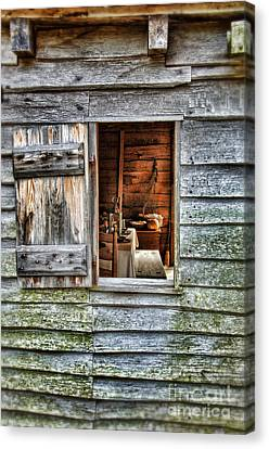 Log Cabin Canvas Print - Open Window In Pioneer Home by Jill Battaglia