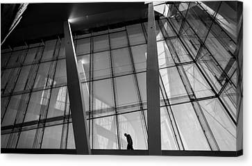 Opera House - Oslo, Norway - Black And White Street Photography Canvas Print