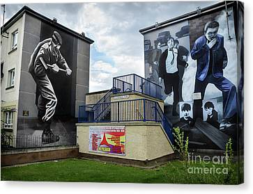 Operation Motorman Mural In Derry Canvas Print by RicardMN Photography