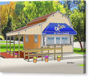 Opie Canvas Print - Opie's Snowball Stand by Stephen Younts