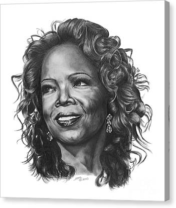 Canvas Print featuring the drawing Oprah by Marianne NANA Betts