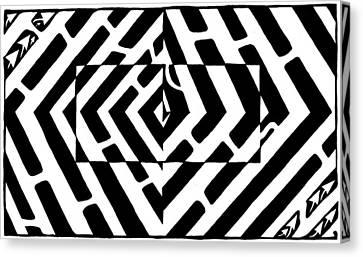 Optical Illusion Maze Of Floating Box Canvas Print by Yonatan Frimer Maze Artist