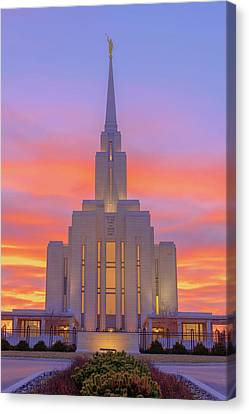 Canvas Print featuring the photograph Oquirrh Mountain Temple IIi by Chad Dutson