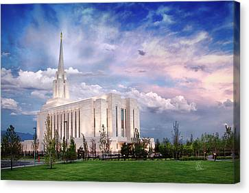 Oquirrh Mt Temple Canvas Print by La Rae  Roberts