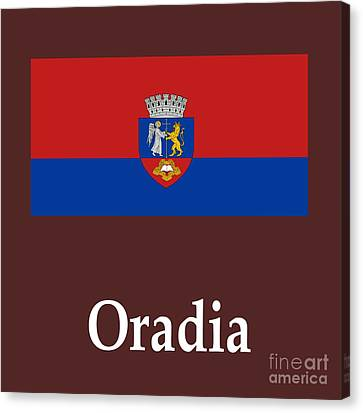 Oradia, Romania Flag And Name Canvas Print by Frederick Holiday