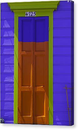 Nola Canvas Print - Orange And Blue Door by Garry Gay