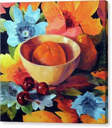 Orange And Cherries Canvas Print by Marina Petro