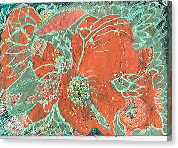 Orange And Green And A Tangerine Canvas Print by Anne-Elizabeth Whiteway