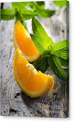 Tangerine Canvas Print - Orange And Mint by Jelena Jovanovic