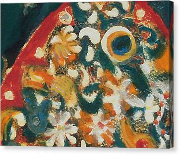 Orange And Multi Colored Fish Up Close Canvas Print by Anne-Elizabeth Whiteway