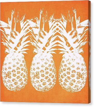 Orange And White Pineapples- Art By Linda Woods Canvas Print by Linda Woods