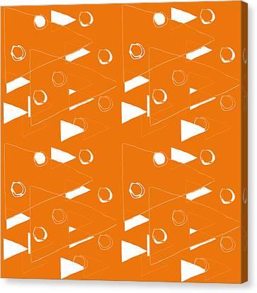 Orange And White Triangles Canvas Print