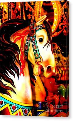 Orange And Yellow Carousel Horse Canvas Print