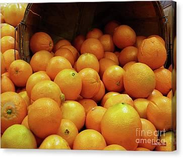 Orange Basket Canvas Print by Methune Hively