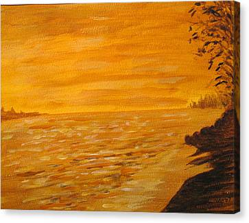 Canvas Print featuring the painting Orange Beach by Ian  MacDonald