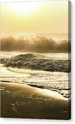 Canvas Print featuring the photograph Orange Beach Sunrise With Wave by John McGraw