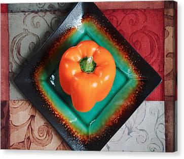 Orange Bell Pepper Canvas Print by Tom Druin