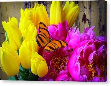 Old Wall Canvas Print - Orange Butterfly On Peony by Garry Gay