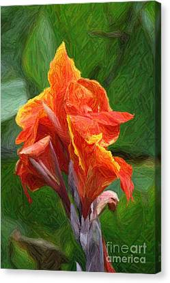 Orange Canna Art Canvas Print by John W Smith III