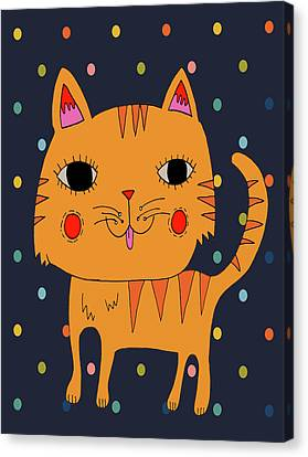 Orange Cat Canvas Print by Nicole Wilson