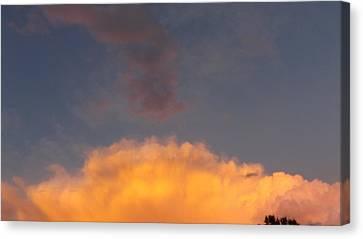 Orange Cloud With Grey Puffs Canvas Print