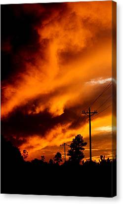 Orange Clouds At Sunset Canvas Print by Dana  Oliver