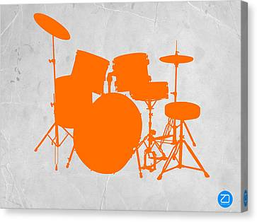 Rock Music Canvas Print - Orange Drum Set by Naxart Studio