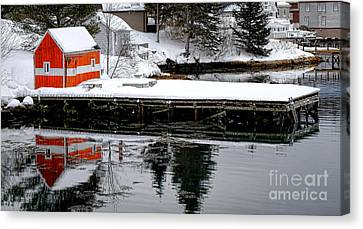 Maine Winter Canvas Print - Orange Fishing Shack On A Dock In Maine by Olivier Le Queinec