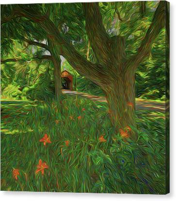 Canvas Print featuring the photograph Orange Flowers by Lewis Mann