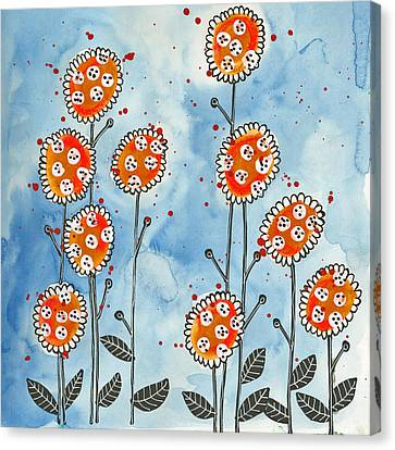 Orange Flowers Canvas Print by Tonya Doughty