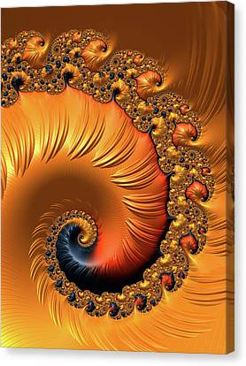 Canvas Print featuring the digital art Orange Fractal Spiral Warm Tones by Matthias Hauser