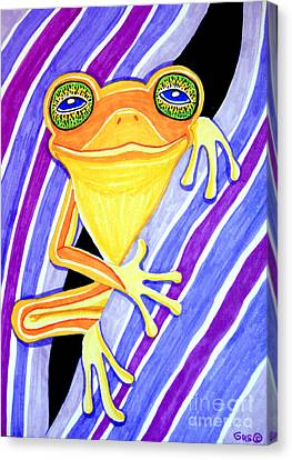Orange Frog On A Purple Flower Canvas Print by Nick Gustafson