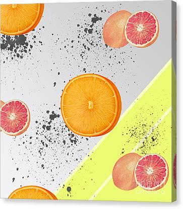 Orange Grapefruit Collage Canvas Print by Pati Photography