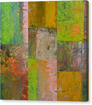 Canvas Print featuring the painting Orange Green And Grey by Michelle Calkins