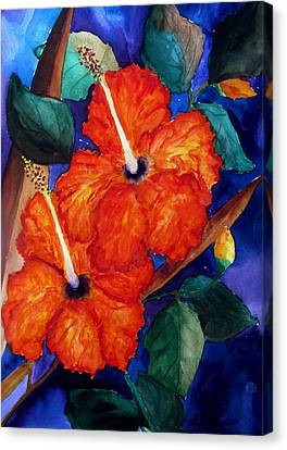 Canvas Print featuring the painting Orange Hibiscus by Lil Taylor