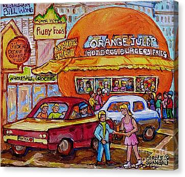 Orange Julep On Decarie Bill Wong Ruby Foo's Colorful City Scene Original Painting Montreal Memories Canvas Print