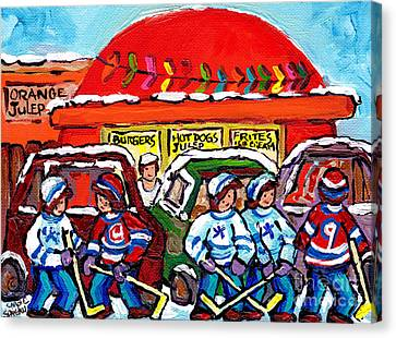 Orange Julep Drive In Montreal Winter City Scene Painting Hockey Art Canadian Artist Carole Spandau  Canvas Print