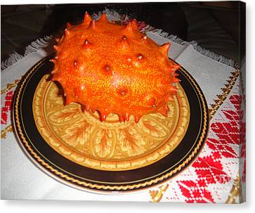 Orange Kiwano Melon. Cucumis Metuliferus Canvas Print