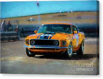 Orange Mustang Canvas Print