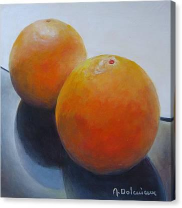 Orange Noir Et Blanc Canvas Print by Muriel Dolemieux