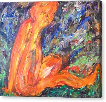 Canvas Print featuring the painting Orange Nymph by Esther Newman-Cohen