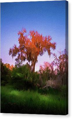 Mysterious Sunset Canvas Print - Orange Oak by Marvin Spates