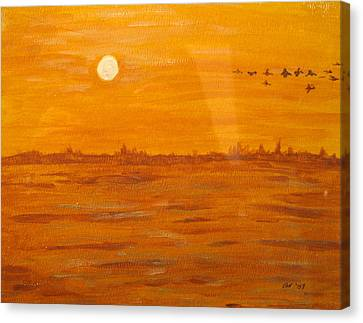 Canvas Print featuring the painting Orange Ocean by Ian  MacDonald