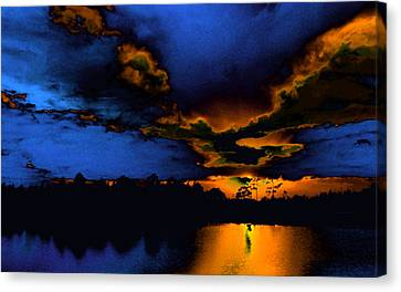 Orange On Blue Canvas Print by Lyle  Huisken