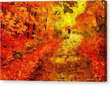 Multi-color Canvas Print - Orange Path - Da by Leonardo Digenio