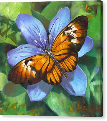 Orange Piano Key Butterfly Canvas Print