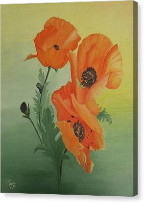 Orange Poppies Canvas Print by Joan Taylor-Sullivant