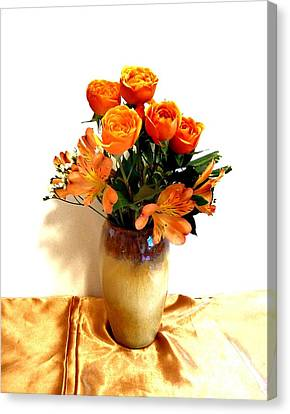 Orange Rose Bouquet Canvas Print by Marsha Heiken