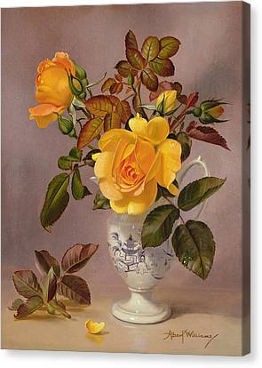 Orange Roses In A Blue And White Jug Canvas Print by Albert Williams