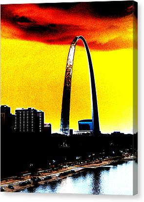 Canvas Print featuring the digital art Orange Skies And The Arch by Maggy Marsh